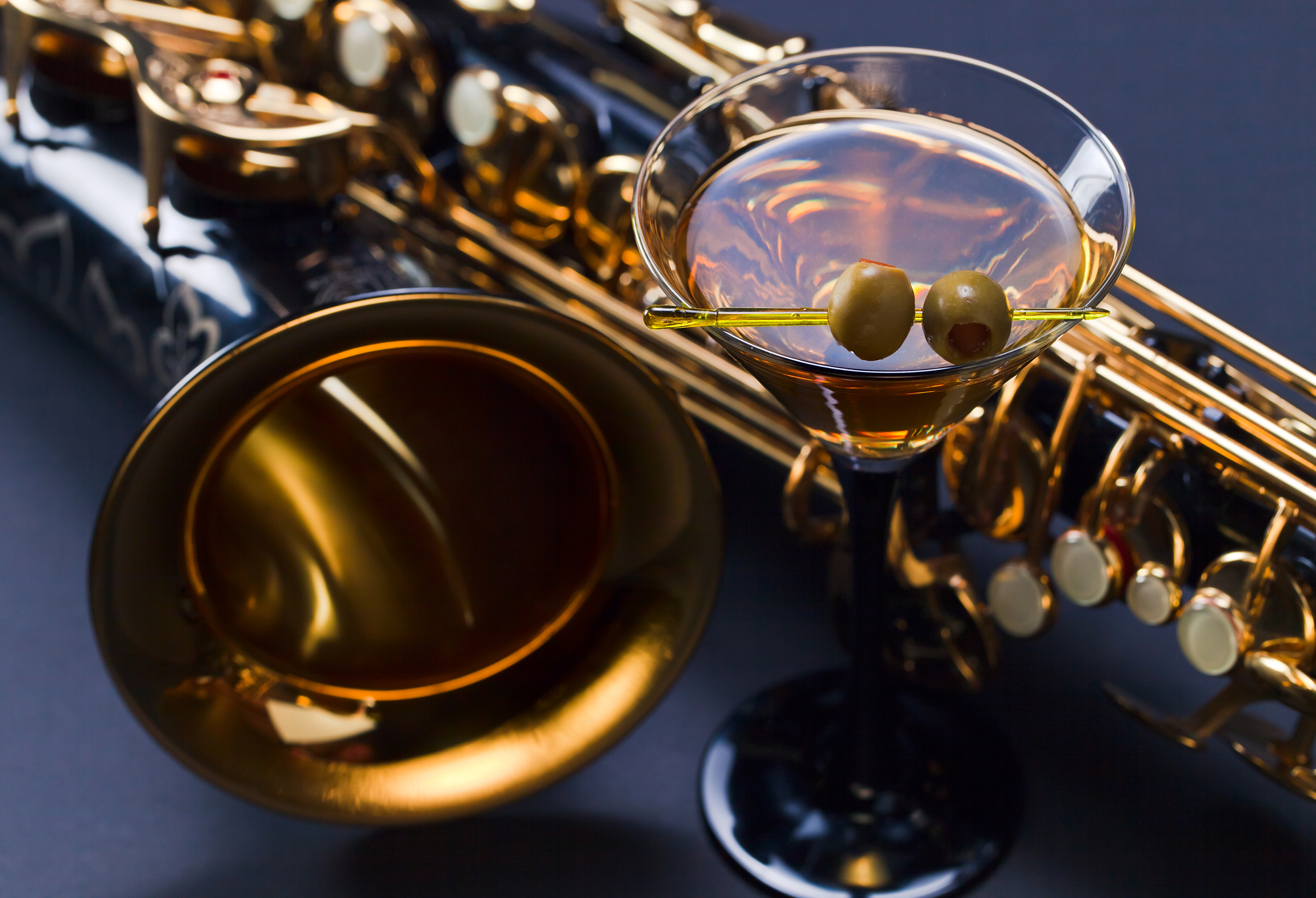 Weekend Events photo showing saxophone and a martini