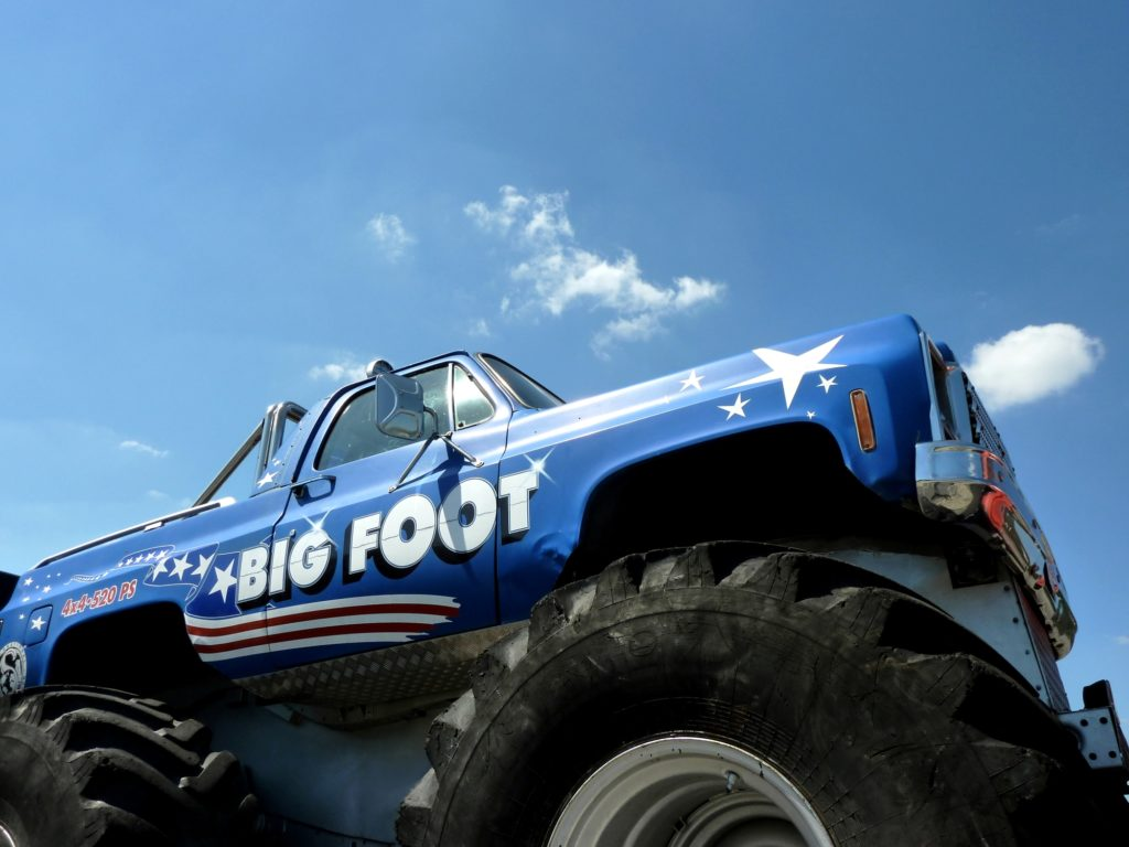 monster truck with blue sky